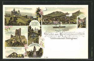 Lithographie Königswinter, Drachenburg, Ruine Drachenfels, Restauration auf dem Drachenfels