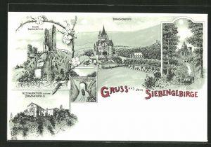 Lithographie Königswinter, Restauration auf dem Drachenfels, Ruine Drachenfels, Drachenburg