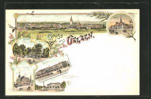 Lithographie Uelzen, Fischerhof, kaiserl. postamt, Bahnhof, Rathaus