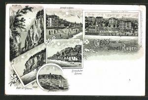 Mondschein-Lithographie Binz, Strandansicht, Schlucht, Arkona