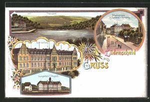 Lithographie Lüdenscheid, Thalsperre, Krankenhaus, Lungenheil-Anstalt & Wilhelmstrasse mit Rathaus