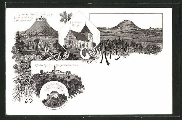 Lithographie Göppingen, Wäscher Schlössle, Hohenstaufen-Wiege, Kreuzzug Kaiser Friedrich I., Barbarossa Kirche, Kloster