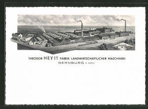 AK Bernburg / Saale, Fabrik Landwirtschaftlihcre Maschinen von Theodor Hey