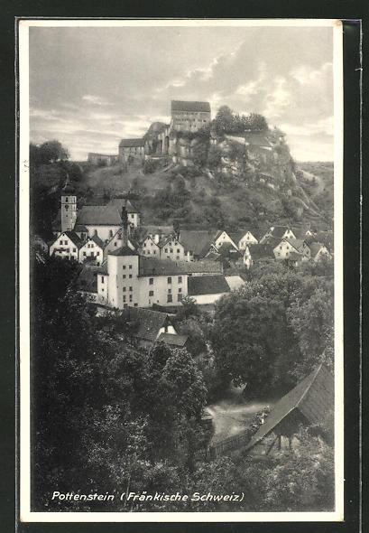 AK Pottenstein / Fränkische Schweiz, Totalansicht aus der Vogelschau