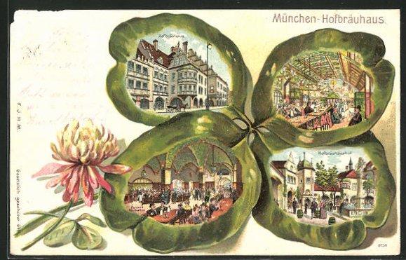 Passepartout-Lithographie München, Gasthof Münchner Hofbräuhaus, Ansichten auf Kleeblatt