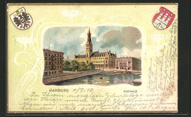 Passepartout-Lithographie Hamburg, Partie am Rathaus, Wappen