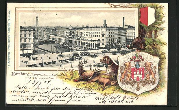 Passepartout-Lithographie Hamburg, Reesendammsbrücke und Alsterarkaden aus der Vogelschau, Wappen