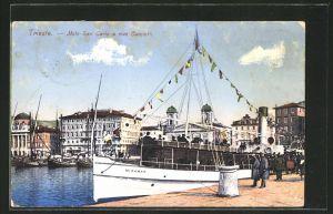 AK Trieste, Molo San Carlo e riva Carciotti, Dampfer Miramar