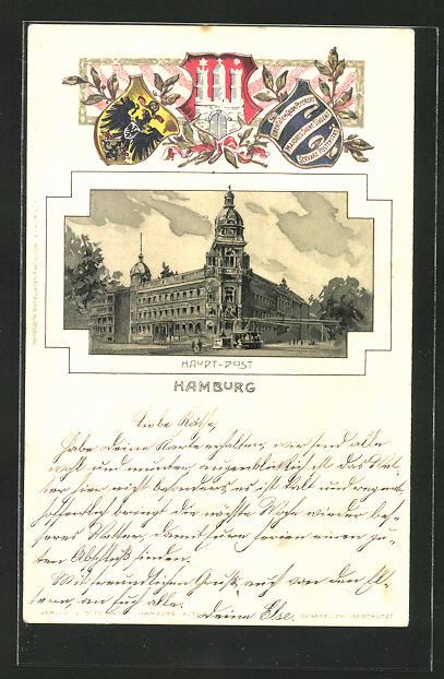 Passepartout-Lithographie Hamburg-Neustadt, Partie an der Hauptpost, Wappen