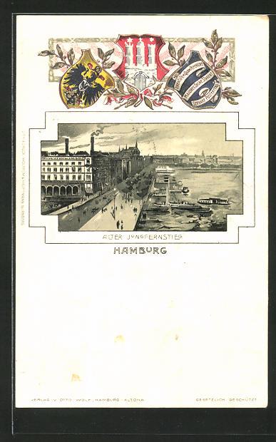 Passepartout-Lithographie Hamburg-Neustadt, Alter Jungfernstieg aus der Vogelschau, Wappen