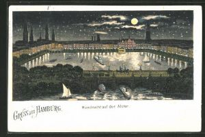 Lithographie Hamburg-Neustadt, Mondnacht auf der Alster, beleuchtete Gebäude