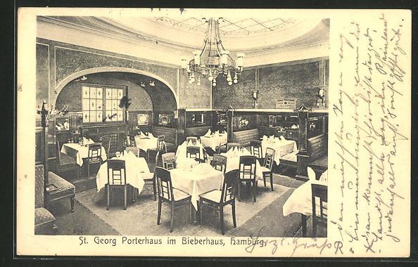 AK Hamburg-St. Georg, Restaurant St. Georg Porter-Haus im Bieberhaus, Hochmannplatz 3