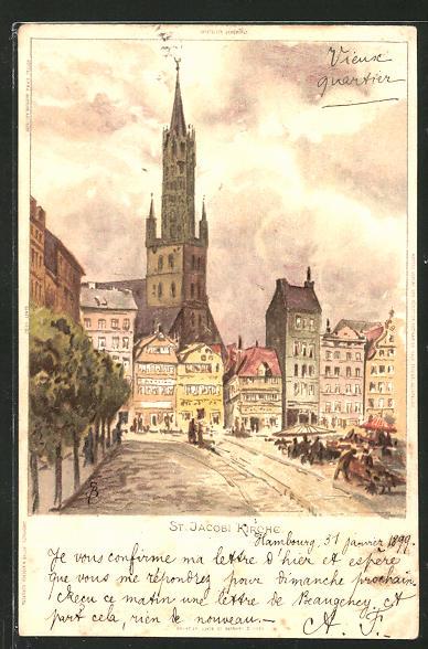 Künstler-AK Carl Biese: Hamburg, St. Jacobi Kirche mit Strassenpartie
