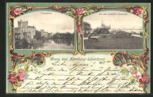Passepartout-AK Hamburg-Uhlenhorst, feenteich & An der schönen Aussicht