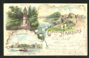 Lithographie Hamburg-Uhlenhorst, Fährhaus, Schillerdenkmal, Partie an der schönen Aussicht