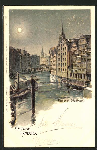 Glitzer-Perl-Lithographie Alt-Hamburg, Fleet an der Deichstrasse im Mondschein mit Glitzer-Perlen