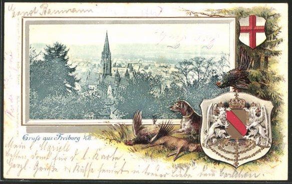 Passepartout-Lithographie Freiburg i. B., Totalansicht, Wappen