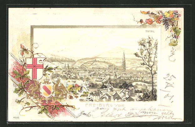 Passepartout-Lithographie Freiburg i. Br., Totalansicht und Wappen