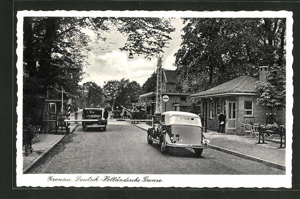 AK Gronau, Deutsch-Holländische Grenze mit Schlagbaum und Restaurant H. Schmeing, Glanerbrücke