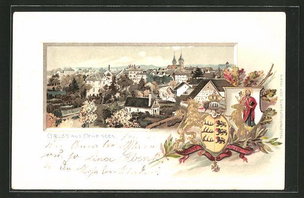 Passepartout-Lithographie Oehringen, Gesamtansicht und Wappen