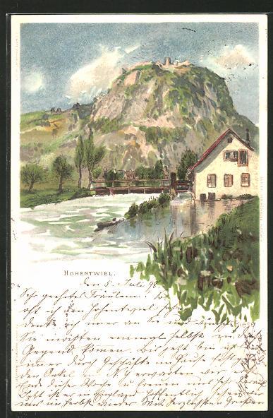 Künstler-AK Carl Biese: Singen, Ortsansicht mit Schloss Hohentwiel