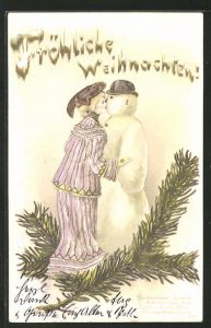 Präge-AK Fröhliche Weihnachten, Frau küsst Schneemann