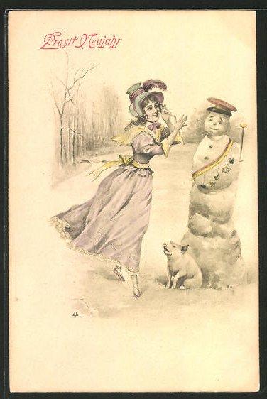 AK Junge Dame & Schwein an einem Schneemann