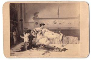 Fotografie Goupil & Cie., Paris, Gemälde von unbek. Künstler, Dame mit Kindern, antike Szene