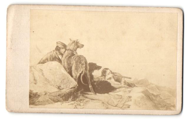 Fotografie Gemälde von Landsee, Den Grund durchforschend, Jäger mit Hunden