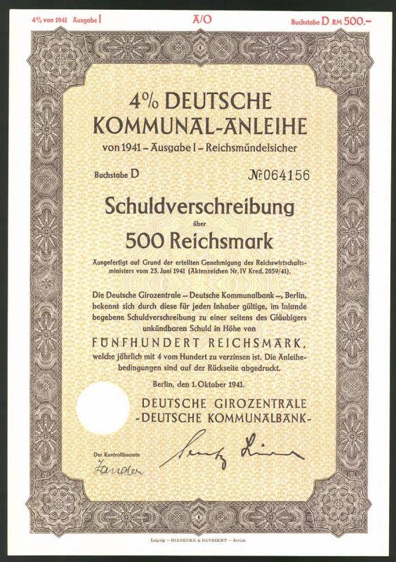 Deutsche Kommunal-Anleihe, Schuldverschreibung über 500 Reichsmark, Berlin 1941, Ornamente