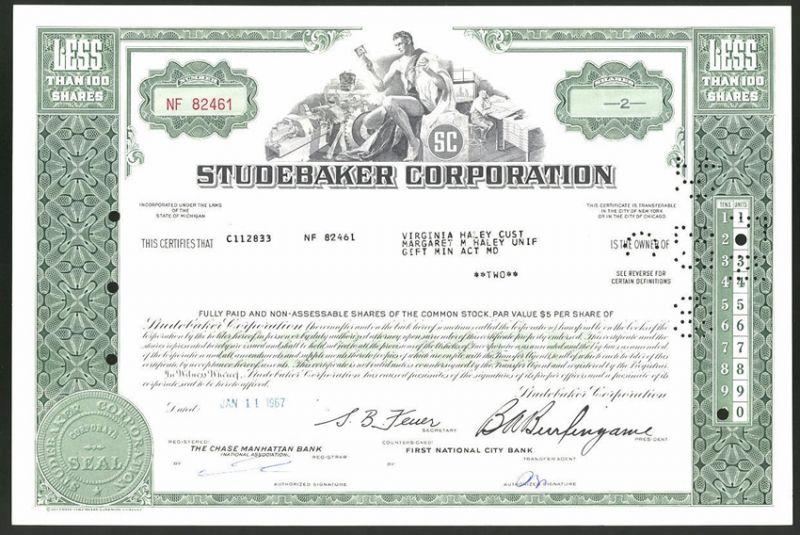 Aktie von Studebaker Corporation, 1967, 2 Anteile, Arbeiter in der Auto-Fabrik, Männerakt mit Motor-Kolben