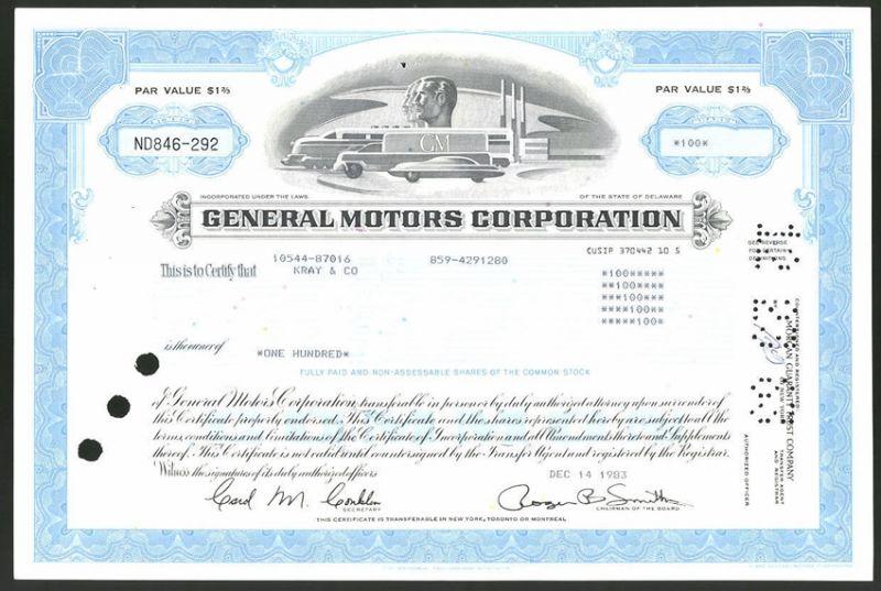 Aktie von General Motors Corporation, Delaware 1983, 100 Anteile, Eisenbahn, Lastwagen & Auto mit Firmenlogo