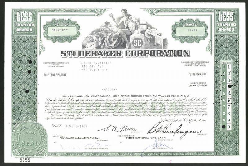 Aktie von Studebaker Corporation, 1965, 4 Anteile, Arbeiter in der Auto-Fabrik, Männerakt hält Motor-Kolben