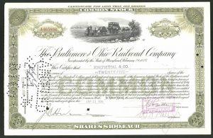 Aktie von The Baltimore and Ohio Railroad Company, Maryland 1936, 25 Anteile, frühe Eisenbahn / Kleinbahn mit Dampflok