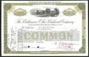 Aktie von The Baltimore and Ohio Railroad Company, 1946, 5 Anteile, Kleinbahn / frühe Eisenbahn mit Dampflok
