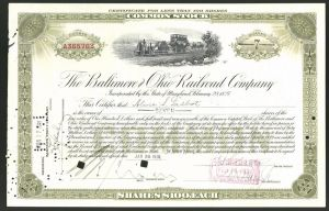 Aktie von The Baltimore and Ohio Railroad Company, 1931, 7 Anteile, Kleinbahn / rühe Eisenbahn mit Dampflok in Fahrt