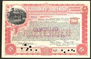 Aktie von Baltimore and Ohio Railroad Company, 1899, 10 Anteile von Henry Oppenheimer, Dampflok, Tender-Lokomotive