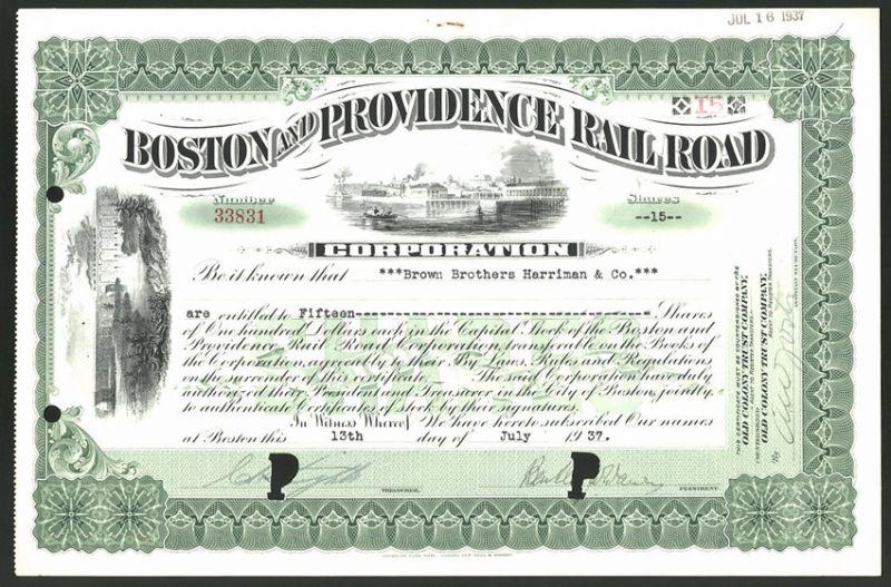Aktie von Boston and Providence Railroad Corporation, Boston 1937, 15 Anteile, Eisenbahnbrücke & Seeblick