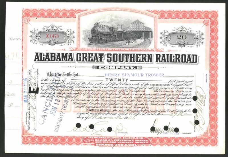 Aktie von Alabama Great Southern Railroad Company, 1906, 20 Anteile, Personenzug mit Dampflok verlässt den Bahnhof