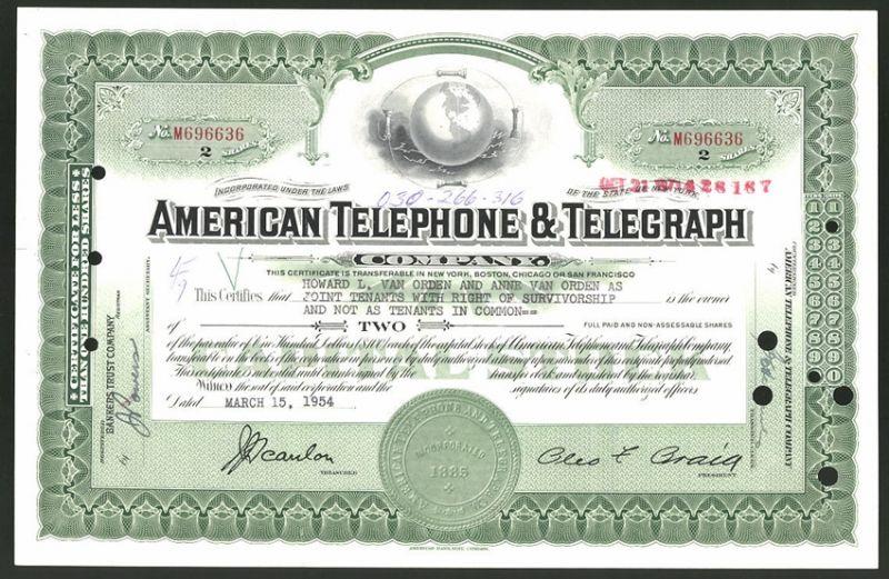 Aktie von American Telephone & Telegraph Company, 1954, 2 Anteile, Weltkugel mit Telefondrähten