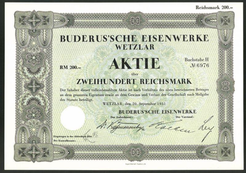 Aktie von Buderus'sche Eisenwerke Wetzlar, 1933, 200 Reichsmark, Ornamente, Banknoten-Design