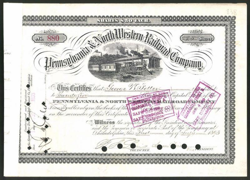 Aktie von Pennsylvania & North Western Railroad Company, Philadelphia 1893, 25 Anteile, Zug mit Dampflok im Bahnhof