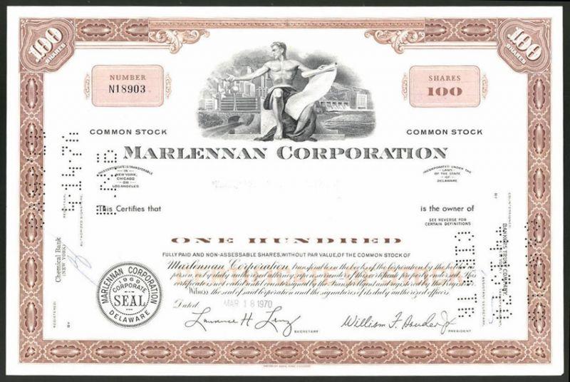 Aktie von Marlennan Corporation, Delaware 1970, 100 Anteile, Mann in Akt vor Stadtansicht & Staudamm