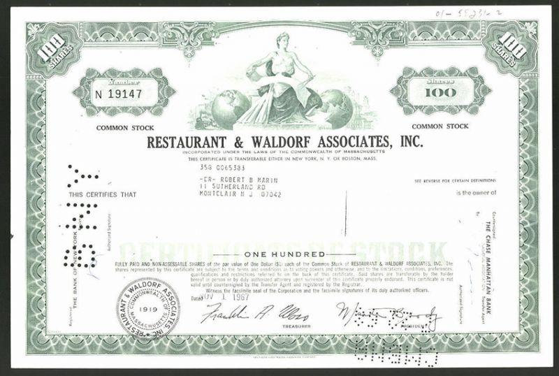 Aktie von Restaurant & Waldorf Associates Inc., Massachusetts 1967, 100 Anteile, Dame mit Zirkel & Weltkugeln vor Stadt