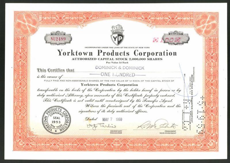 Aktie von Yorktown Products Corporation, New York 1959, 100 Anteile, Firmenlogo - Wappen mit Löwe