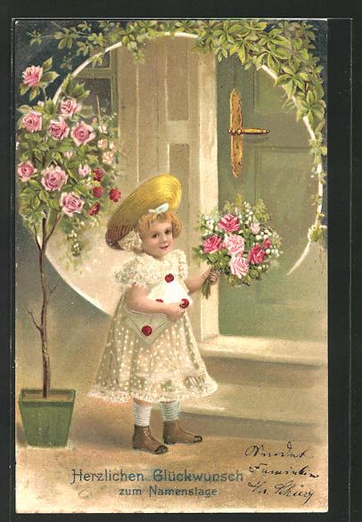 Präge Ak Glückwünsche Zum Namenstag Kleine Gratulantin Mit Blumen
