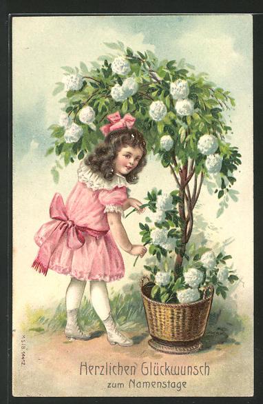 Präge Ak Glückwünsche Zum Namenstag Gratulantin Pflückt Blumen Nr