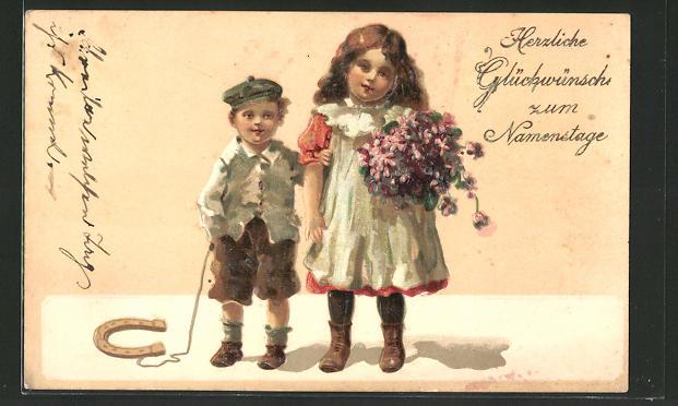 Präge-Lithographie Kinder gratulieren mit Blumen und Hufeisen zum Namenstag