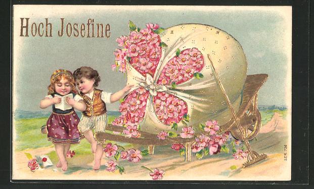 Präge-Lithographie Kinder mit einem Sack voller Blüten gratulieren zum Namenstag,