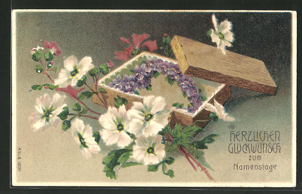 AK Blumen in einer Holzkiste, Namenstag
